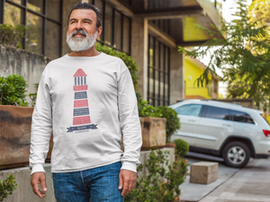 white long sleeve lighthouse tee