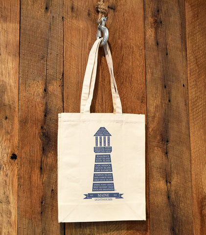 tote bag with lighthouse
