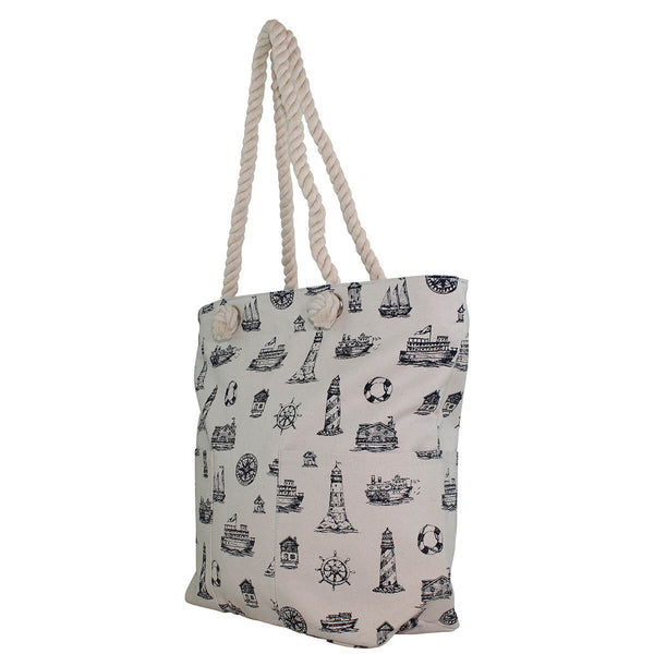 nautical beach bag side view