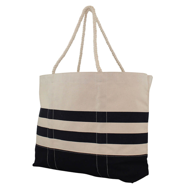 navy stripe beach bag side view