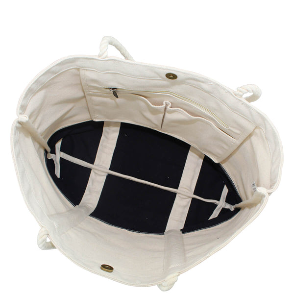 navy stripe beach bag inside view