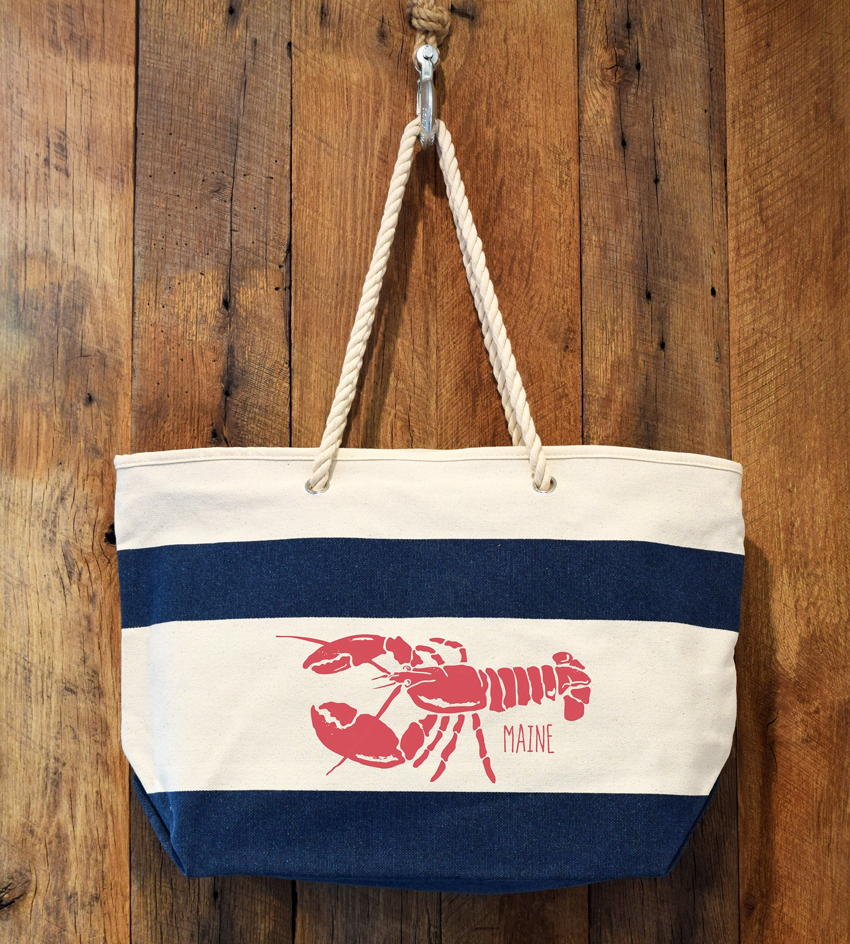 navy stripe lobster beach bag