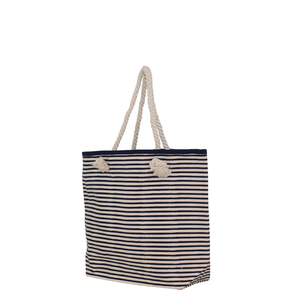 navy stripe tote bag side view