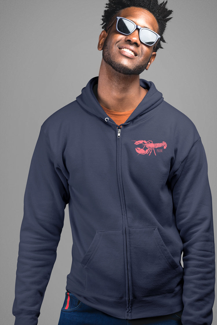 navy zip up hoodie with red lobster