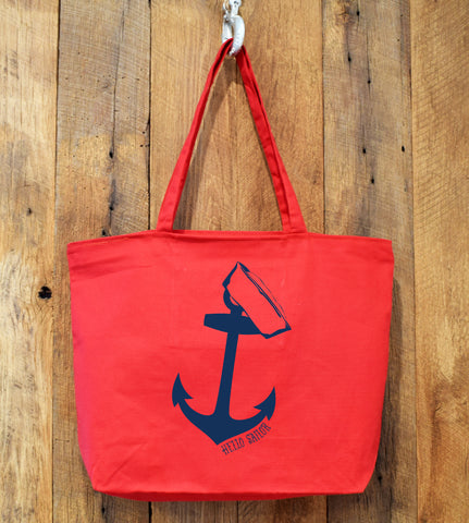 red tote bag with anchor image