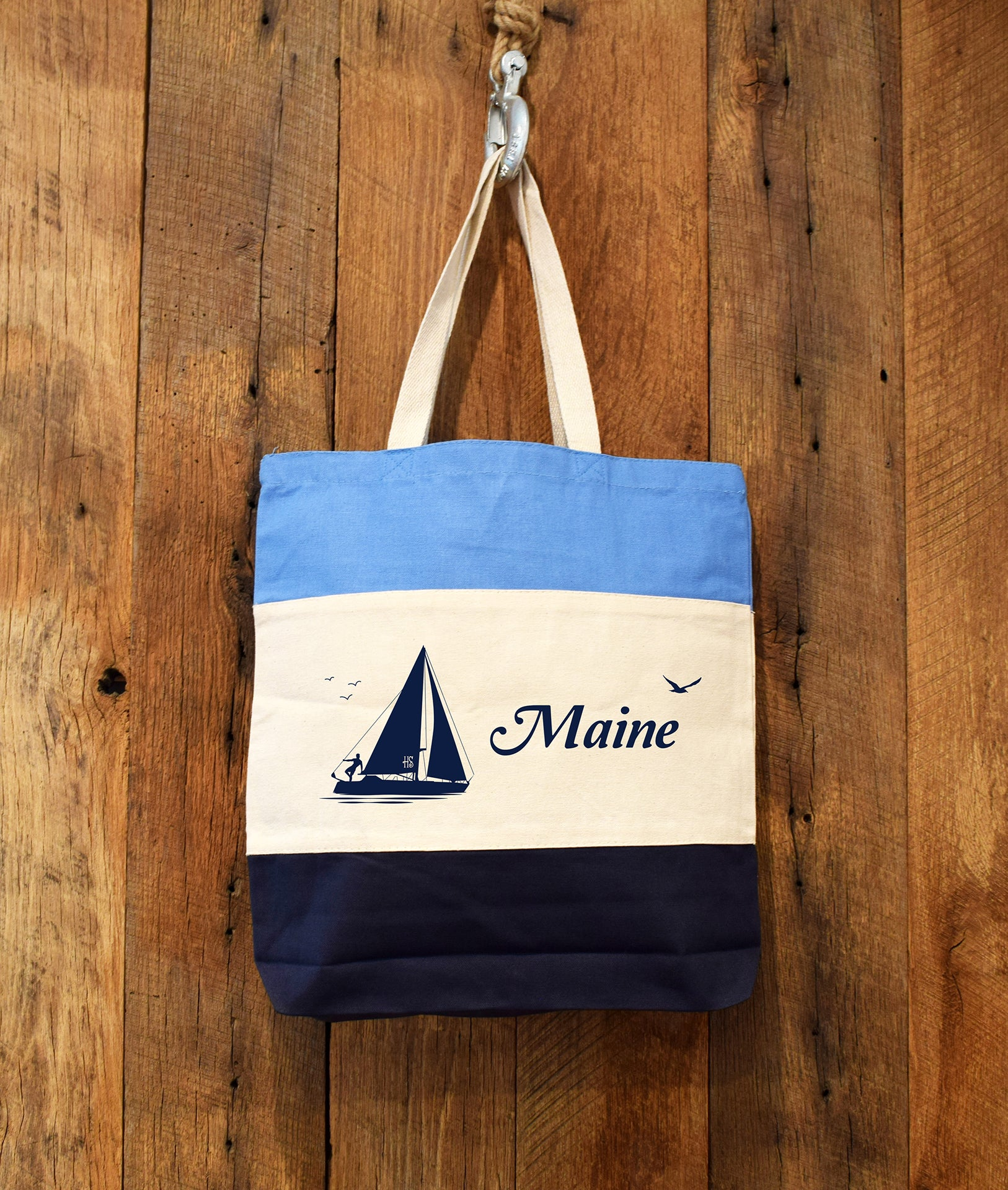Maine sailboat tote bag