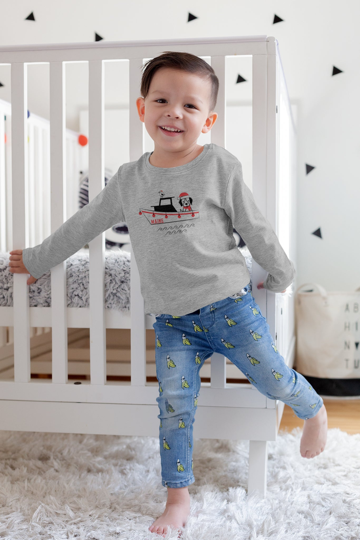 gray christmas toddler long sleeve t-shirt