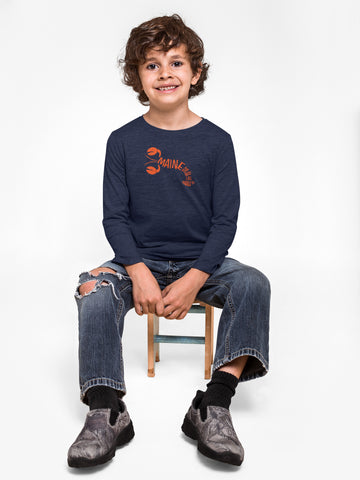 Toddler lobster navy long sleeve tee