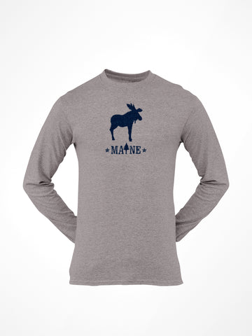 Maine moose youth long sleeve gray tee