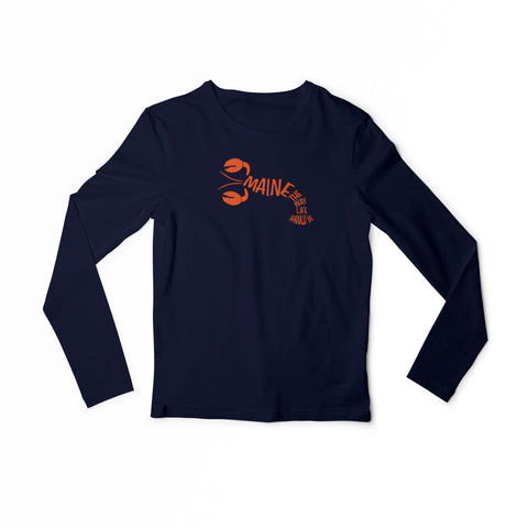 Maine lobster print yout long sleeve tee