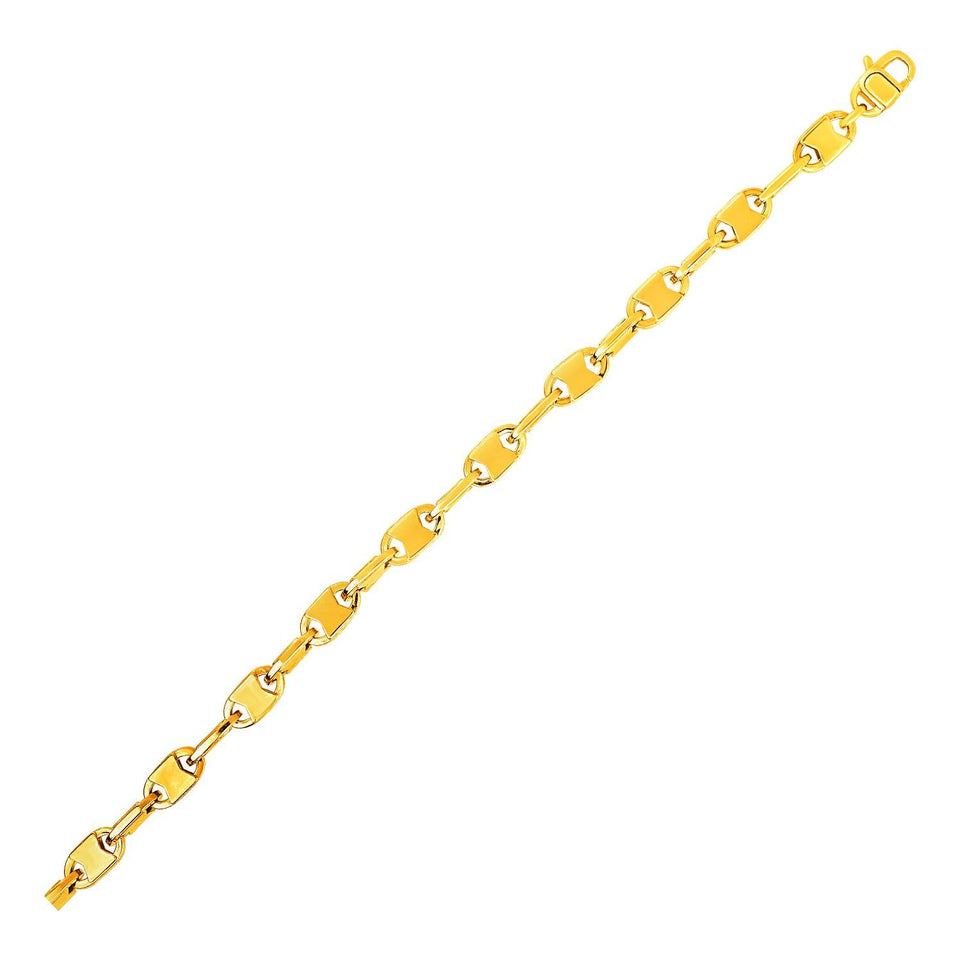 Mens Polished Link Bracelet in 14k Yellow Gold