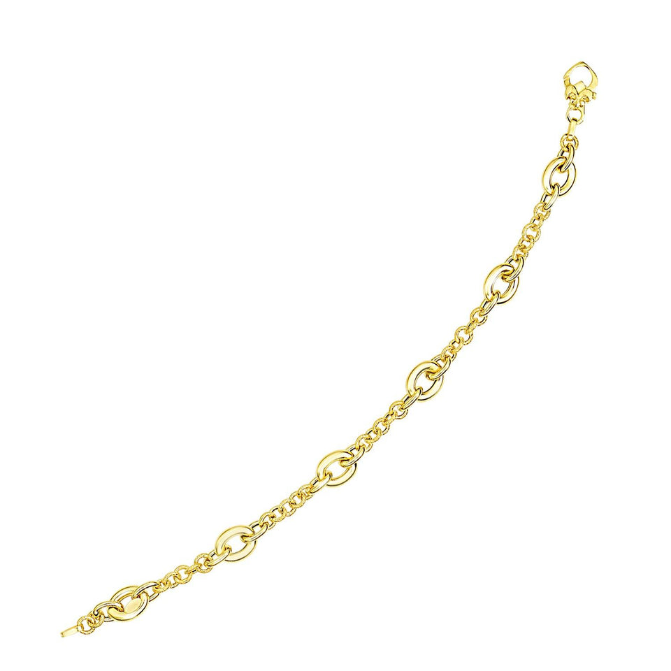 14k Yellow Gold Oval and Round Link Textured Chain Bracelet