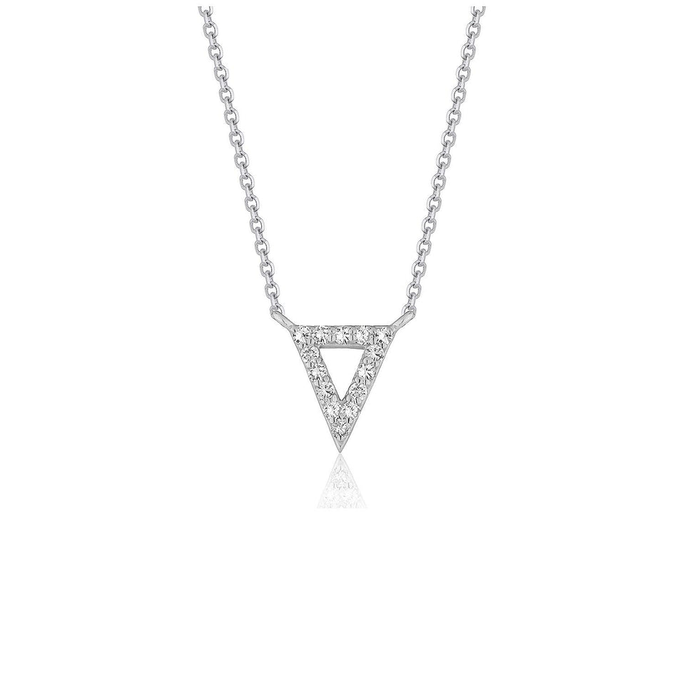 Diamond Inverted Triangle Pendant in 14k White Gold