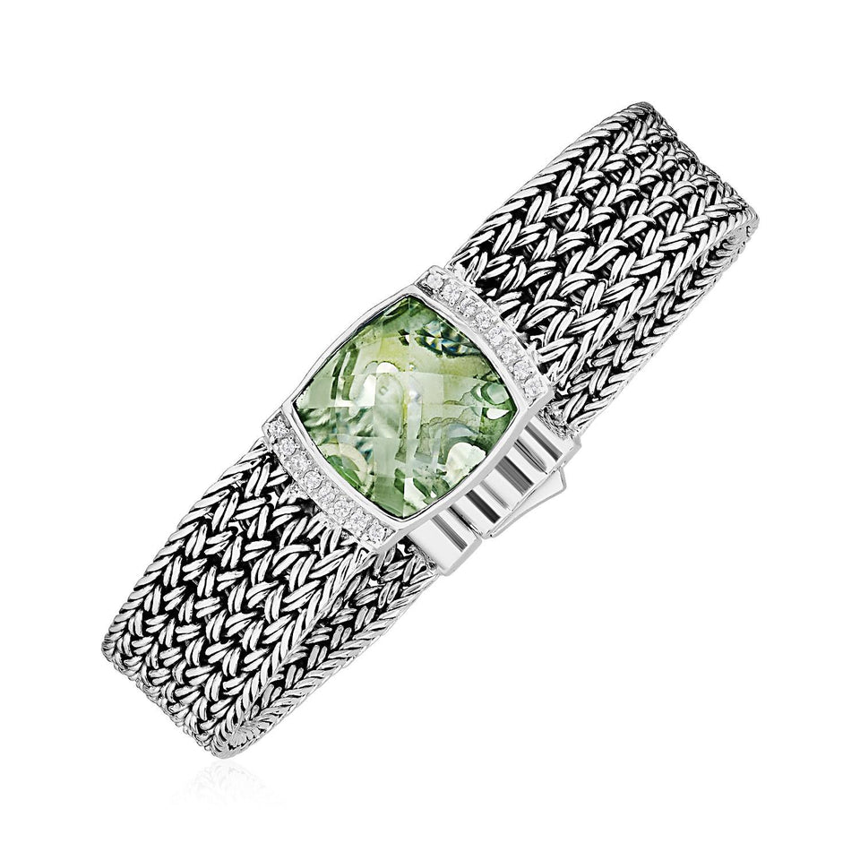 Wide Woven Bracelet with Green Amethyst and White Sapphires in Sterling Silver