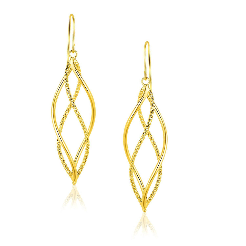 14k Yellow Gold Spiral Style Double Row Dangling Earrings