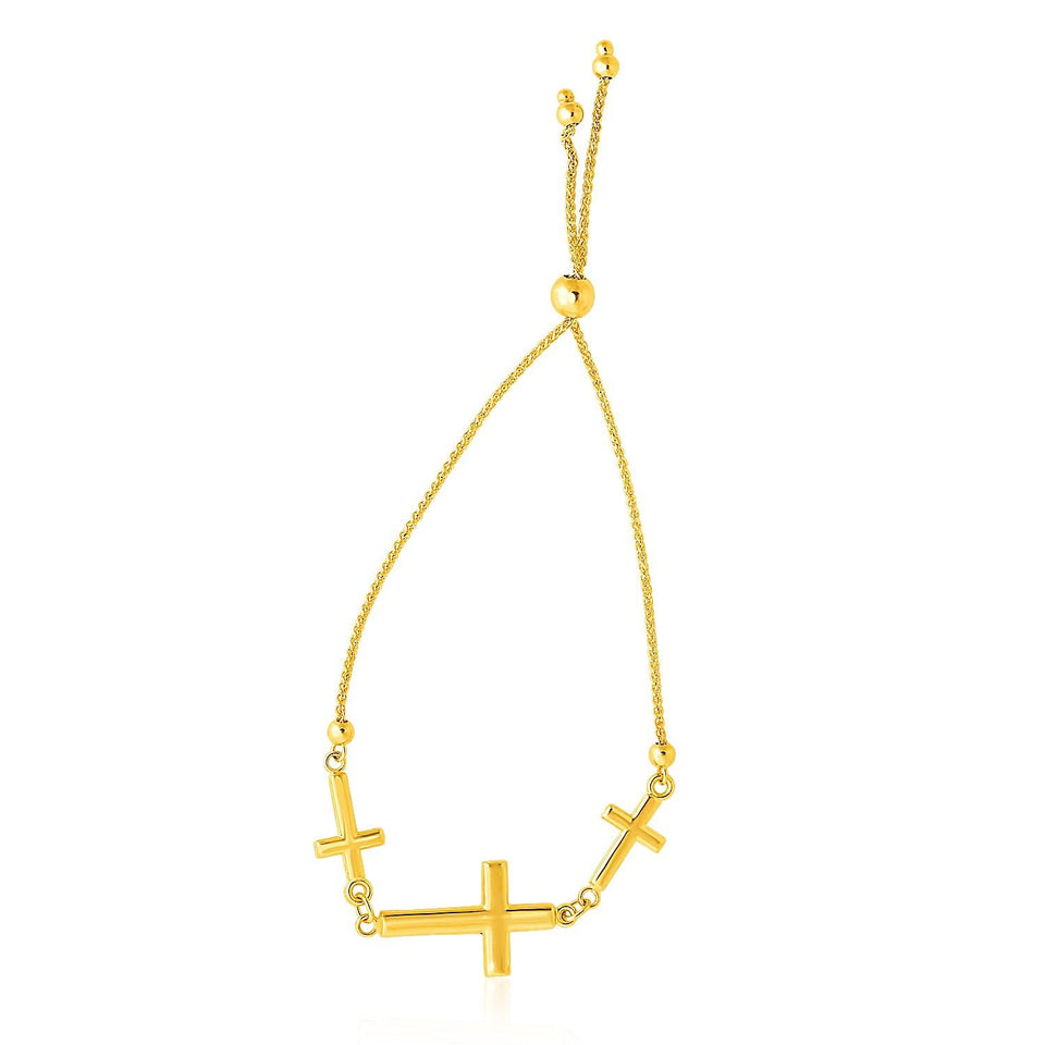 14k Yellow Gold Adjustable Bracelet with Three Crosses