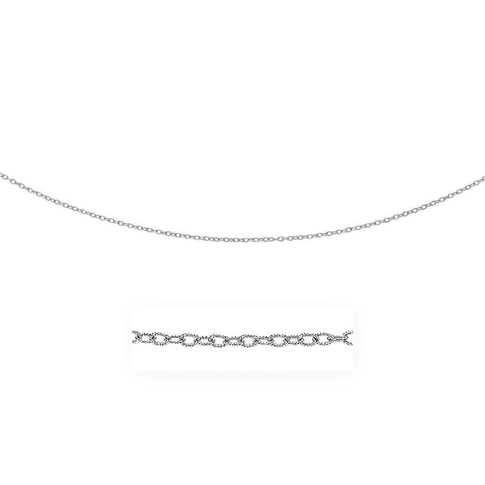 2.5mm 14k White Gold Pendant Chain with Textured Links