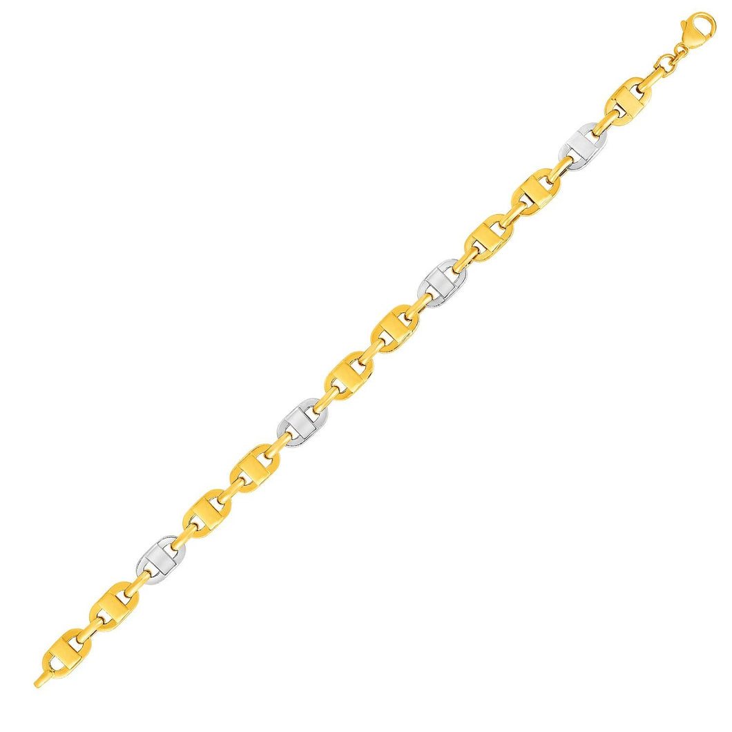 Mariner Motif Link Bracelet in 14k Two-Tone Gold