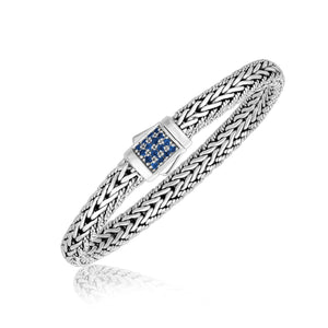 Sterling Silver Braided Men's Bracelet with Blue Sapphire Stones