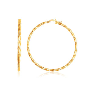 14k Yellow Gold Patterned Hoop Earrings with Twist Design