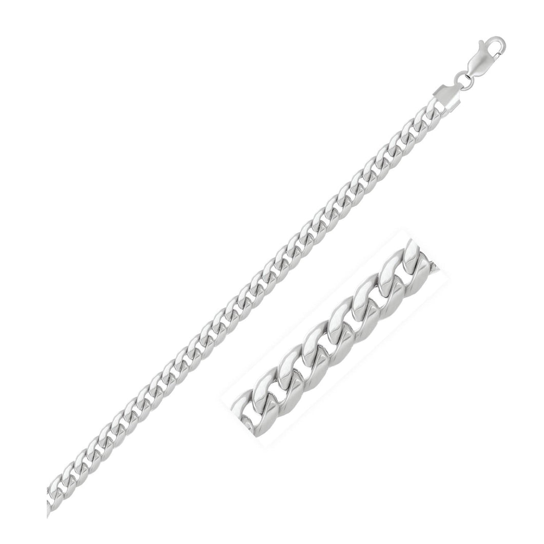5.5mm 14k White Gold Light Miami Cuban Bracelet