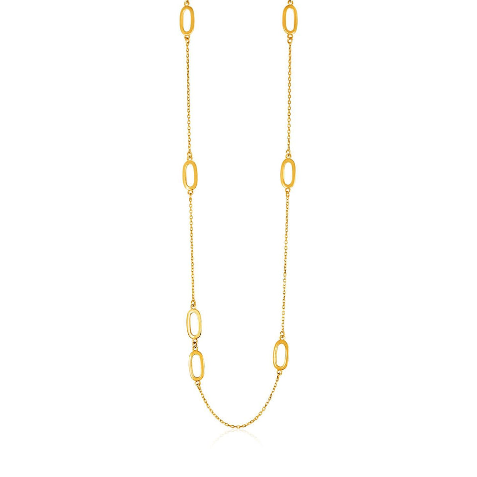 14k Yellow Gold Chain and Soft Rectangular Link Station Necklace