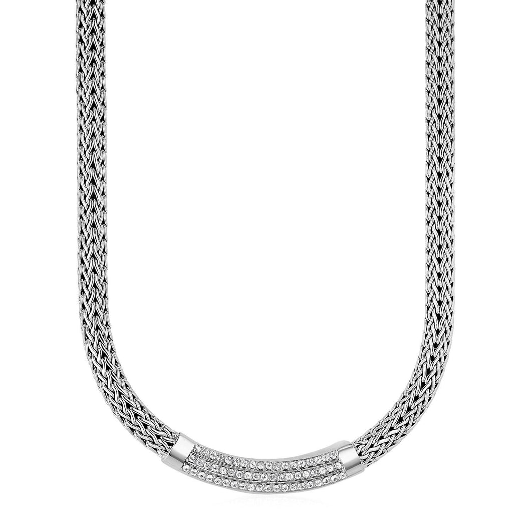 Wide Woven Rope Necklace with White Sapphire Accents in Sterling Silver