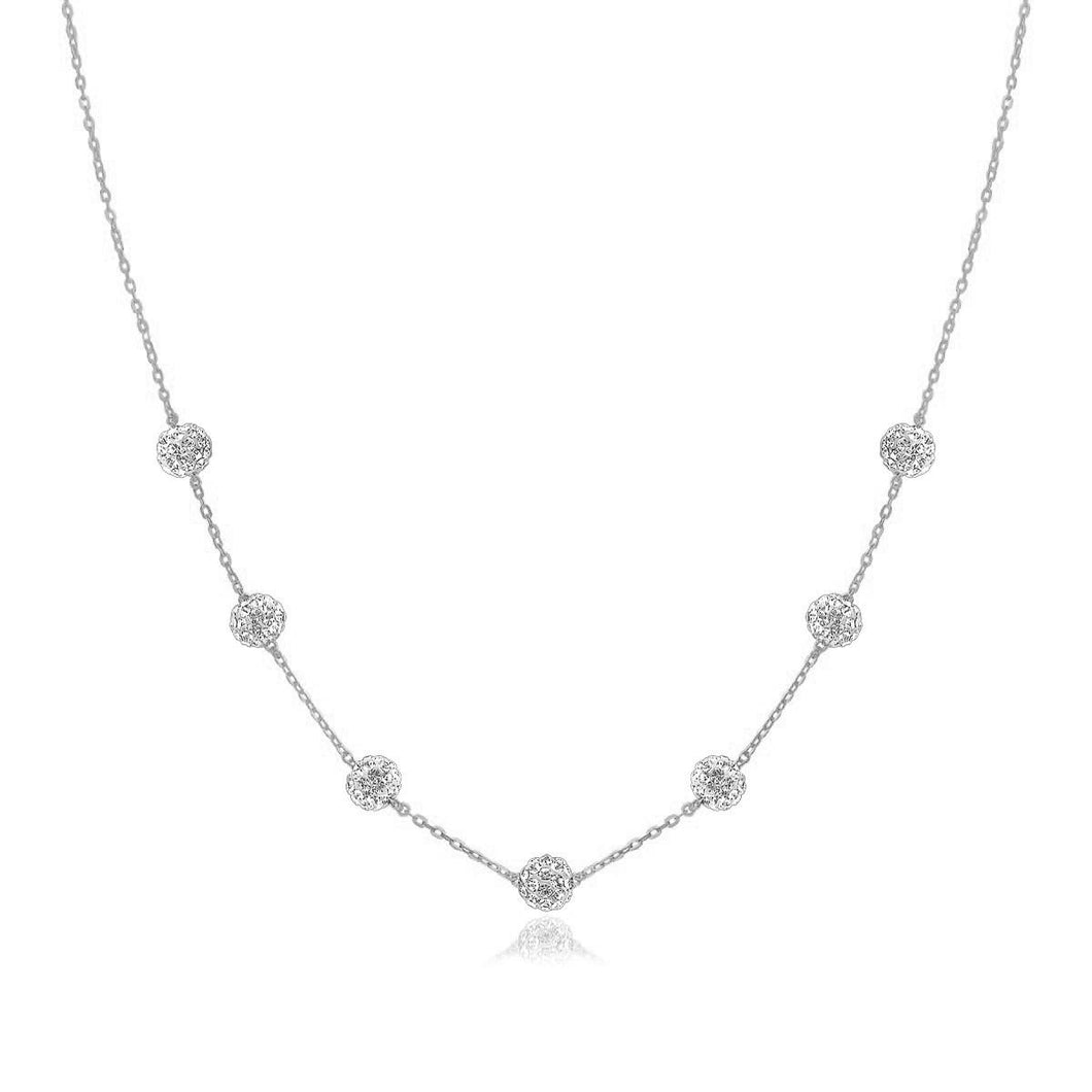 14k White Gold Necklace with Crystal Embellished Sphere Stations