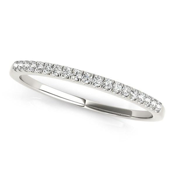 14k White Gold Scallop Pave Set Diamond Wedding Ring (1/8 cttw)