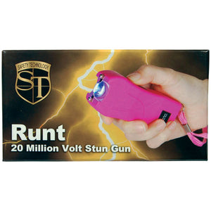 Rechargeable Runt 20,000,000 volt stun gun with flashlight and wrist strap disable pin Pink