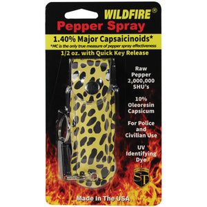 Wildfire 1.4% MC 1/2 oz pepper spray fashion leatherette holster and quick release keychain cheetah black/yellow