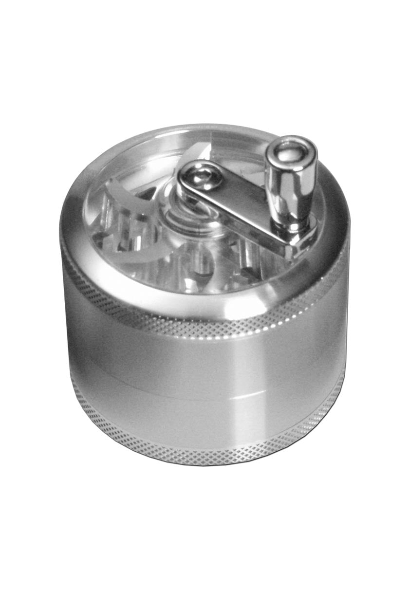 4 Part Grinder with Crank Handle - Silver