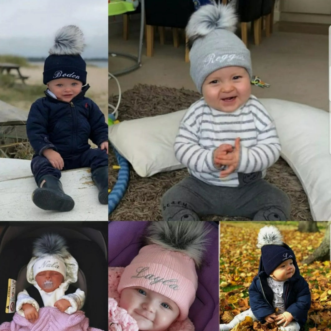 Personalised Hats Girls & Boys Lovely Knitted Pom Pom Hats