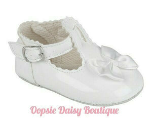 Girls White Baypods Ribbon Shoes 0-18 Months