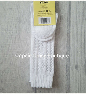 Boys Girls Knee High Spanish Romany Style White Patterned Socks / 12mths - 6yrs - Oopsie Daisy Baby Boutique