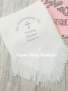 Personalised Christening Day Shawl Blanket Dandelion Baby
