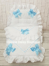 Load image into Gallery viewer, White & Blue Luxury Large Ribbon Foot Muff Cosytoes Pram Nest - Oopsie Daisy Baby Boutique