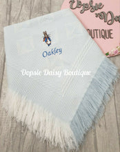 Load image into Gallery viewer, Personalised Peter Rabbit Baby Shawl Blanket Dandelion Baby