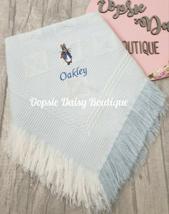 Personalised Peter Rabbit Baby Shawl Blanket Dandelion Baby
