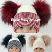 Load image into Gallery viewer, Lovely Knitted Double Pom Pom Hats