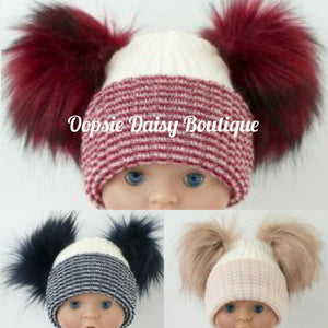 Lovely Knitted Double Pom Pom Hats