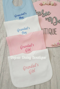 Nannas Boy/Girl Grandmas Boy/Girl Grandads Boy/Girl Embroidered Bibs