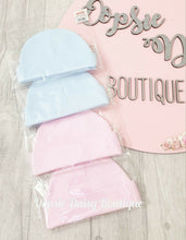 Load image into Gallery viewer, Baby Soft Cotton Pink Blue Hats x 2 pack