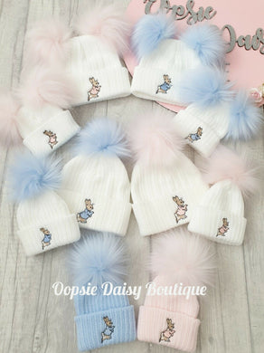Baby Knitted Hats Boys Girls Peter Rabbit Pom Pom Hats