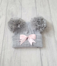 Load image into Gallery viewer, Knitted Double Pom Pom Ribbon Hats (NB-12M) - Oopsie Daisy Baby Boutique