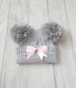 Knitted Double Pom Pom Ribbon Hats (NB-12M) - Oopsie Daisy Baby Boutique