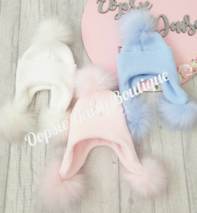 Baby Girls & Boys Lovely Knitted Pom Pom Hats Size 0-12 Months