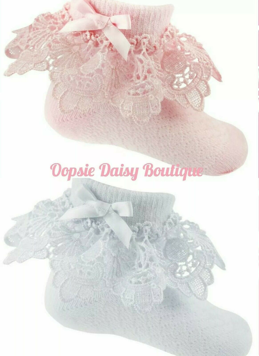 Baby Girls Frilly Ribbon & Lace Ankle Socks 0-12mth