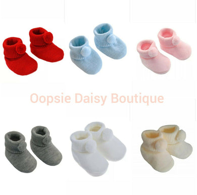 Baby Boys Girls Lovely Soft Pom Pom Slippers Booties ☆ - Oopsie Daisy Baby Boutique