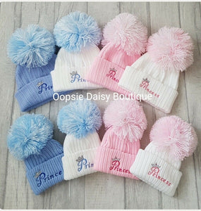 Prince & Princess Large Pom Pom Hats - Oopsie Daisy Baby Boutique